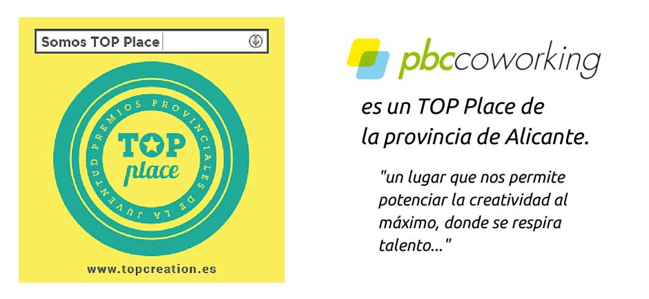PBC Coworking es TOP PLACE de la provincia de Alicante
